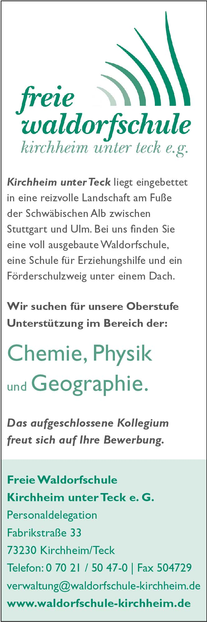 Chemie, Physik, Geographie ...